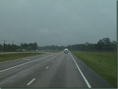 rain on the way to Vero Beach