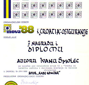 II nagrada i diploma Croatia osiguranja - INOVA 88