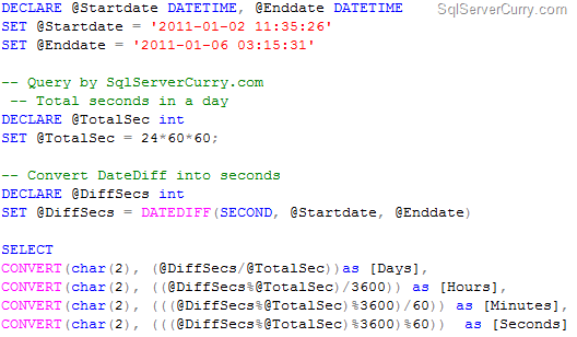 Date Difference in SQL Server