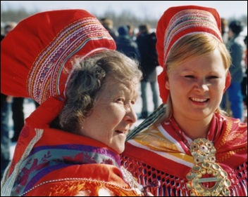 The colourful costume dress of the Sami people