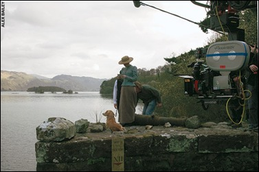 Filming &#39;Miss Potter&#39; at Fawe park landing stage, Derwentwater.
