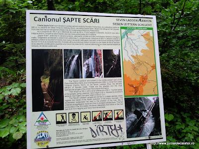 Panou informativ despre Canionul 7 scari