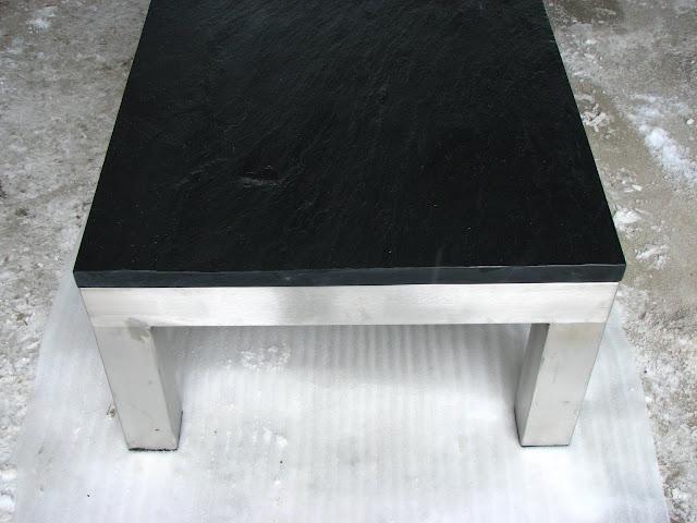 tisch edelstahl schiefer couchtisch esstisch naturstein ebay. Black Bedroom Furniture Sets. Home Design Ideas