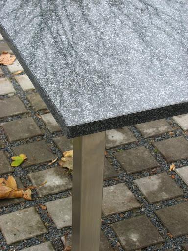 tisch 110 70 edelstahl granit lofttisch esstisch gartentisch balkontisch schwarz ebay. Black Bedroom Furniture Sets. Home Design Ideas