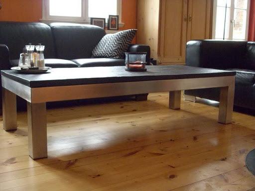 edelstahl wohnzimmertisch schiefertisch designertisch schwarzer schiefer tisch ebay. Black Bedroom Furniture Sets. Home Design Ideas