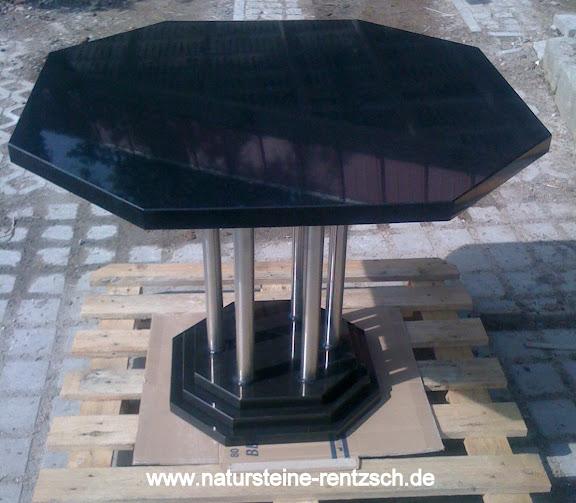tisch 100cm achteckig edelstahl naturstein rund granit k chentisch gartentisch ebay. Black Bedroom Furniture Sets. Home Design Ideas