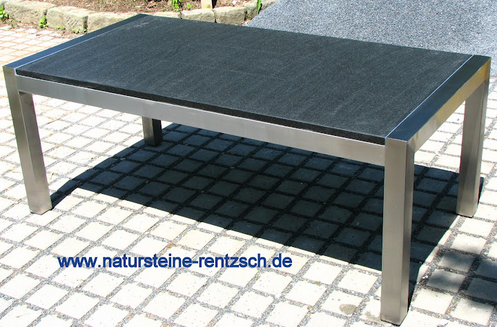 tisch esstisch 230 100 edelstahl gartentisch granit marmor schwarz matt antik ebay. Black Bedroom Furniture Sets. Home Design Ideas