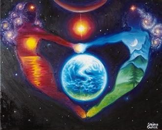 Iubire cosmica - Cald si rece - Soarele si luna - Doua suflete tinandu-se de mana si planeta Pamant2