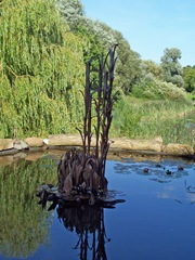 Herons - moving sculpture at Arrow Valley Lake Visitors Centre