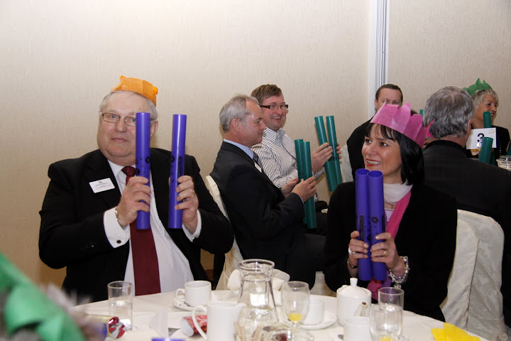 Members of Lancaster Business Network playing Boomwhackers