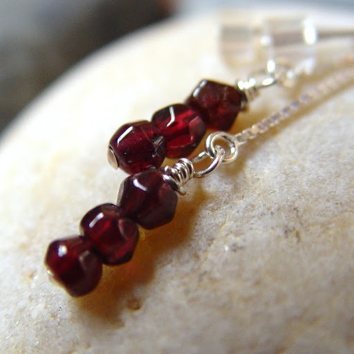 Damon's Kiss - Vampire Diaries inspired garnet ear threaders