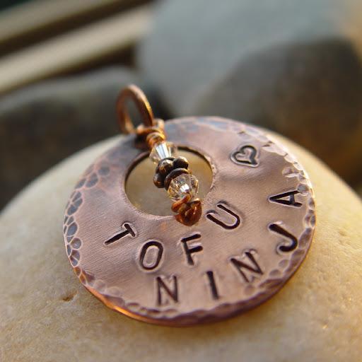 TOFU NINJA handstamped copper pendant