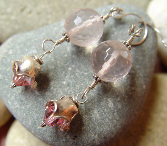 Fae Bells feminine pink rose quartz fine silver earrings