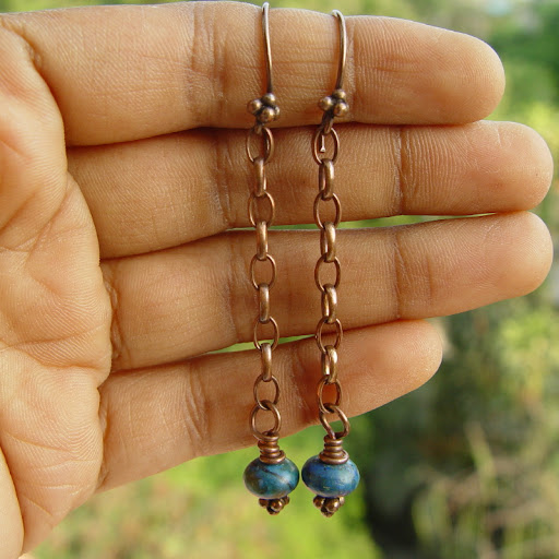 Oceana rustic copper and azurite earrings