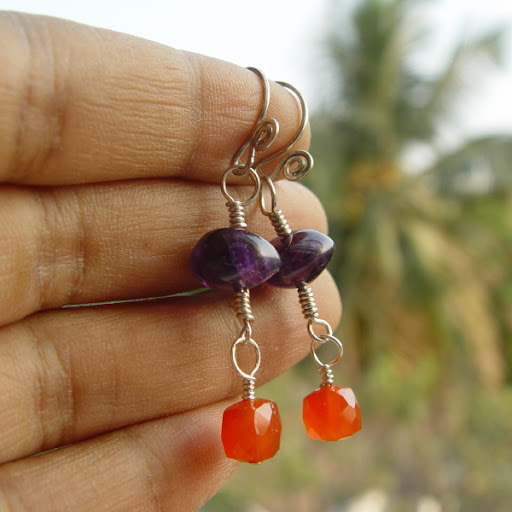 Citrus Berry Tango carnelian amethyst reiki gemstone earrings