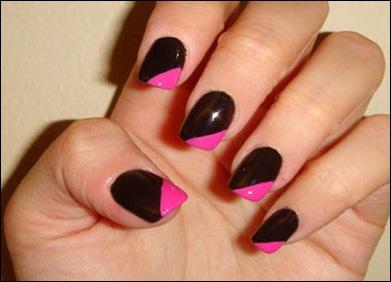 unghii-pictate.rock-negru si roz