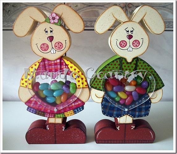 Pintura country baleiro casal coelhos frente
