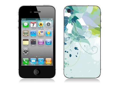 フラワーパターンC(ブルー)-iPhone4用背面スキンカバー