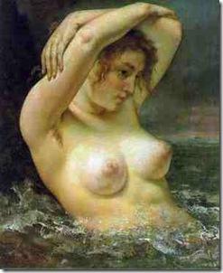 Mujer en las olas - Gustave Coubert