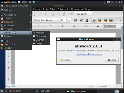 xubuntu 10.04 abiword screenshot