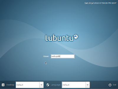 Lubuntu 10.10 LXDM login screen
