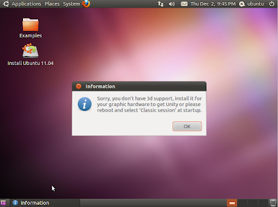 Unity Ubuntu 11.04 - no 3d support