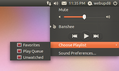 Ubuntu Sound Menu playlists