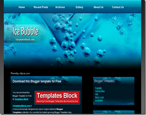 Ice Bubble Blogger Template