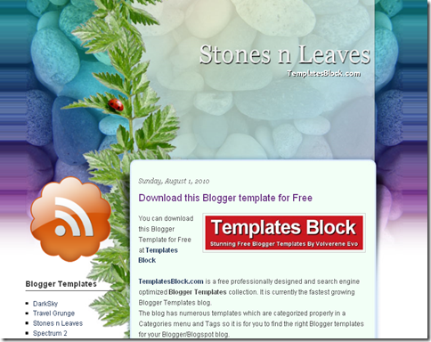 Stones n Leaves Blogger Template