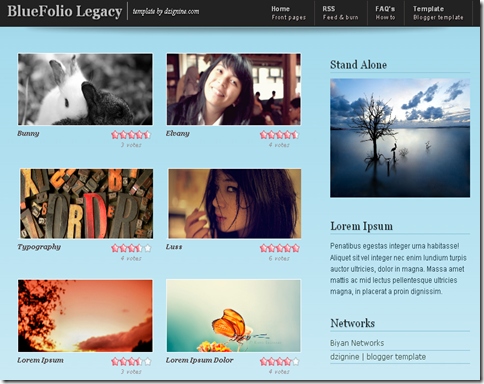 Blue Folio Legacy Blogger Template
