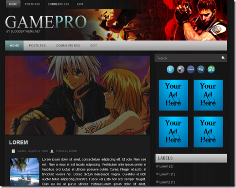 Game Pro Blogger Template