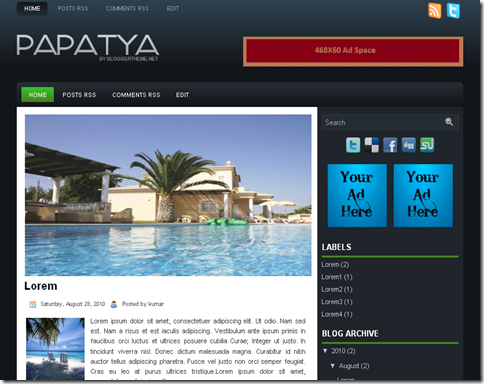 Papatya Blogger Template