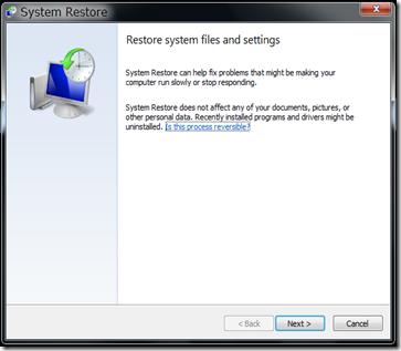 Revert System Restore