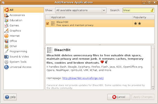 screenshot of Add/Remove Programs installing BleachBit on Ubuntu 9.04 (Jaunty Jackalope)