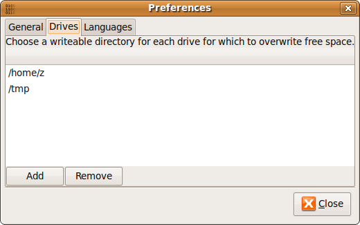BleachBit 0.6.1 preferences dialog showing new options to choose drives for which to overwrite free space (Ubuntu 9.04)