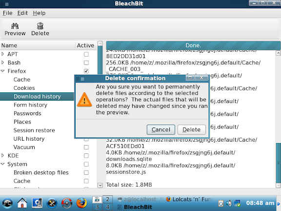 BleachBit 0.6.1 in English on PCLinuxOS 2009