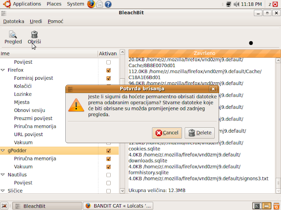 BleachBit 0.6.1 in Croatian on Ubuntu 9.04 (Jaunty Jackalope)