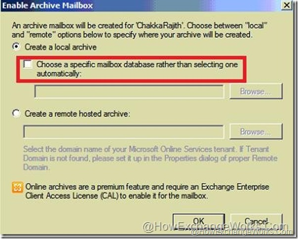 Select DB for archive mailbox in sp1