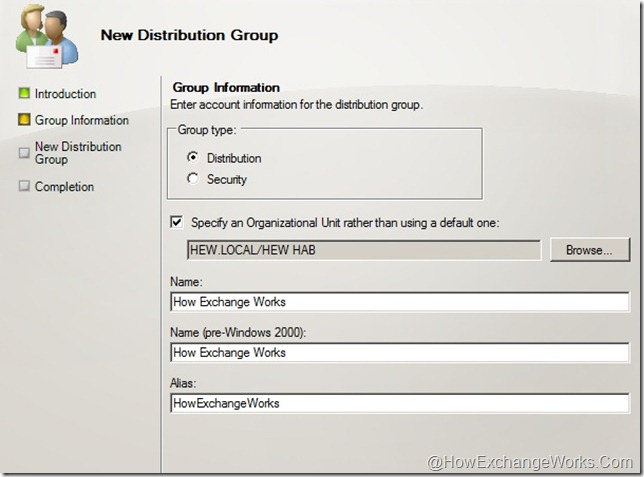 Create HEW Distribution Group