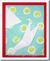 Blue with Green Poka Dot Crane Card