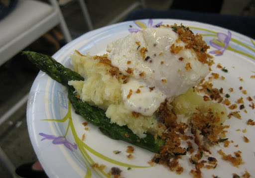 Olive oil poached halibut with brandade, asparagus, citrus cream and panko crumbs