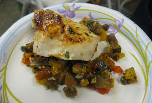 Pan-seared grouper with caponata