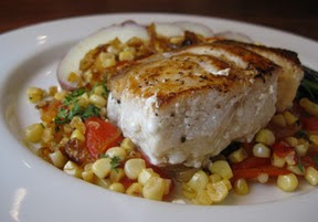 Black Bass with Caramelized Onions and Corn