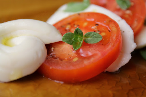 Homemade Mozzarella with Tomatoes and Marjoram
