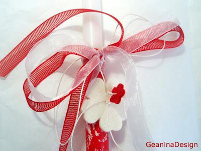Lumanare de Inviere ornata cu detalii florale rosii si albe