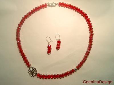 Colier din cristale Swarovski de culoare rosie transparenta, GeaninaDesign.