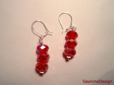 Cercei din cristale Swarovski de culoare rosie transparenta in set cu colier, GeaninaDesign.