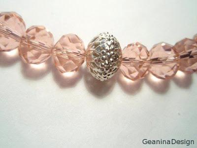 Colier din cristale Swarovski roz, GeaninaDesign.