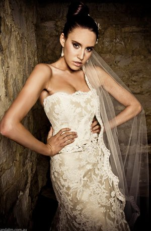 Golden Lace Wedding Gown