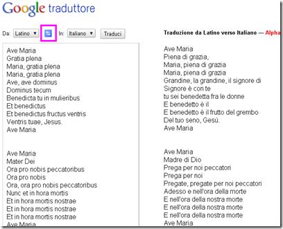 Tradurre dal latino all'italiano e dall'italiano al latino con Google traduttore